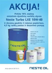 Akcija - Neste Turbo LXE 10W-40  197L + rankų pasta, laikiklis ir popier...