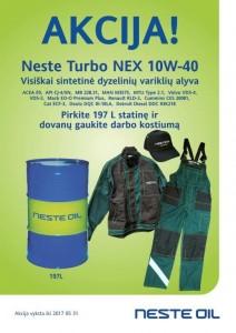 Akcija - Neste Turbo NEX 10W-40  197L + kombinezonas el.pastu