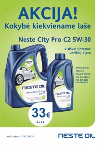 Akcija - Neste City Pro C2 5W-30 4+1L el.pastu